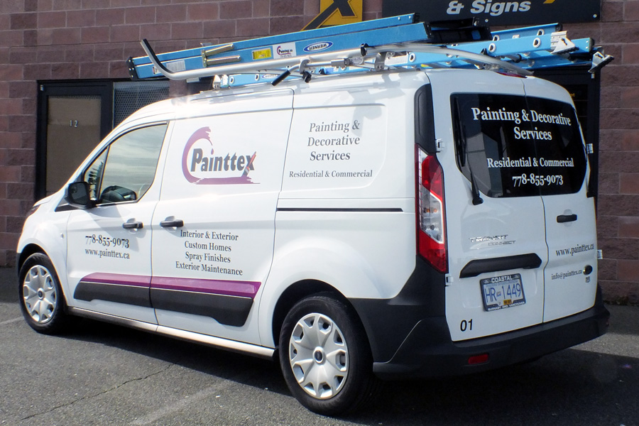 Transit connect painttex vehicle graphics burnaby vancouver area